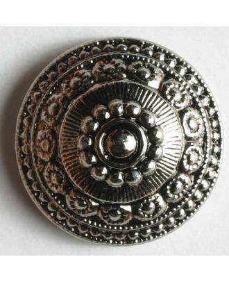 Kunststoffknopf metallisiert, mit antik wirkenden Ornamenten verziert - Größe: 14mm - Farbe: altsilber - Art.Nr. 201086