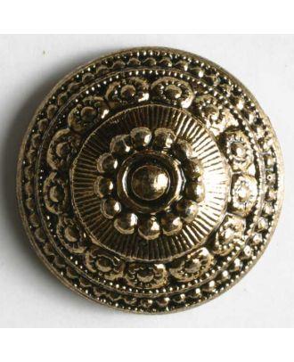 Kunststoffknopf metallisiert, mit antik wirkenden Ornamenten verziert - Größe: 14mm - Farbe: altgold - Art.Nr. 210248