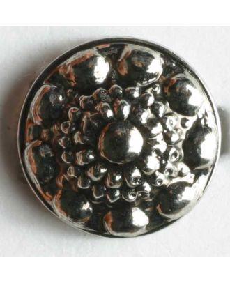 Kunststoffknopf metallisiert, antiker Stil - Größe: 11mm - Farbe: altsilber - Art.Nr. 180297