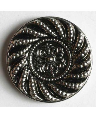 Kunststoffknopf metallisiert, reichlich verziert - Größe: 14mm - Farbe: altsilber - Art.Nr. 200494