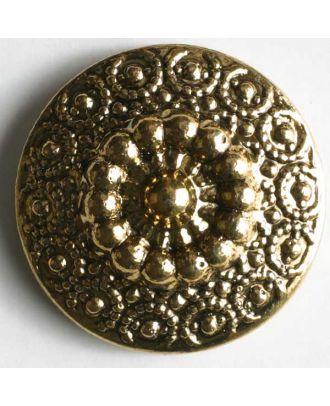 Kunststoffknopf metallisiert, unzählige Kügelchen verleihen blumiges Aussehen - Größe: 14mm - Farbe: altgold - Art.Nr. 210434