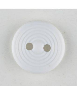 Polyamidknopf Rillenstruktur mit 2 Löchern - Größe: 13mm - Farbe: weiss - Art.Nr. 211724