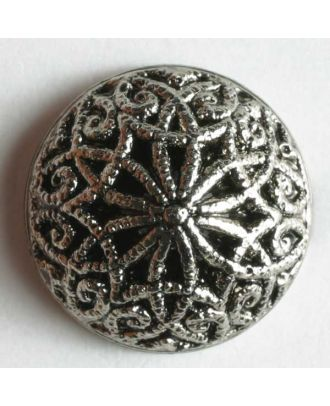Kunststoffknopf metallisiert, mit aufwändigem Motiv  - Größe: 14mm - Farbe: altsilber - Art.Nr. 200530