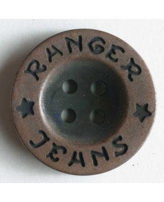 Ranger Jeans Kunststoffknopf metallisiert, mit breitem, flachem Rand und 4 Löchern - Größe: 20mm - Farbe: kupfer - Art.Nr. 220085