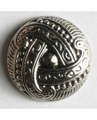 Kunststoffknopf metallisiert, mit aufwändigem, knotenähnlichem Motiv - Größe: 11mm - Farbe: altsilber - Art.Nr. 180331