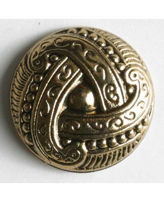 Kunststoffknopf metallisiert, mit aufwändigem, knotenähnlichem Motiv - Größe: 15mm - Farbe: altgold - Art.Nr. 200582