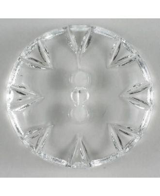 Modeknopf mit wunderschöner Zackengravur  - Größe: 18mm - Farbe: transparent - Art.Nr. 190195