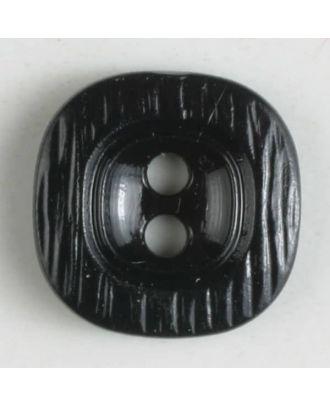 Polyamidknopf, rustikal anmutend, mit breitem Rand und 2 Löchern - Größe: 11mm - Farbe: schwarz - Art.Nr. 211663