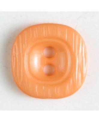 Polyamidknopf, rustikal anmutend, mit breitem Rand und 2 Löchern - Größe: 11mm - Farbe: orange - Art.Nr. 216611