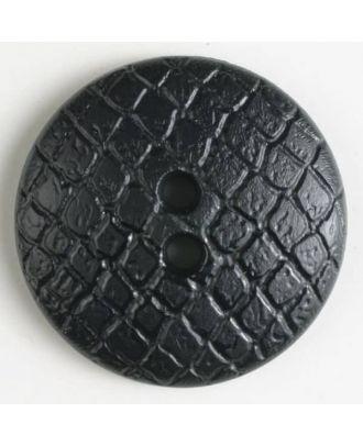 Polyamidknopf leicht gewölbt, Oberfläche ähnelt Waben, 2-Loch - Größe: 28mm - Farbe: schwarz - Art.Nr. 341027