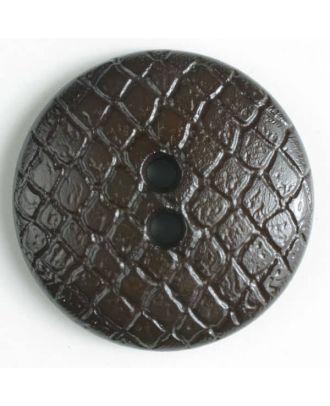 Polyamidknopf leicht gewölbt, Oberfläche ähnelt Waben, 2-Loch - Größe: 18mm - Farbe: braun - Art.Nr. 266613