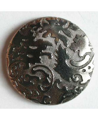 Kunststoffknopf metallisiert, Oberfläche diagonal liniert mit feinem Relief und Öse - Größe: 23mm - Farbe: altsilber - Art.Nr. 270296