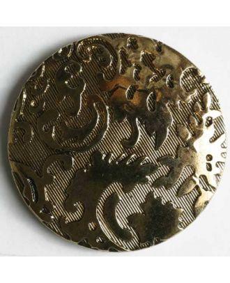Kunststoffknopf metallisiert, Oberfläche diagonal liniert mit feinem Relief und Öse - Größe: 14mm - Farbe: altgold - Art.Nr. 221143