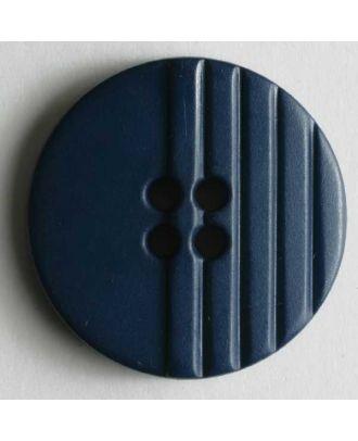 Modeknopf mit halbseitig eingravierten Linien  - Größe: 18mm - Farbe: blau - Art.Nr. 221027