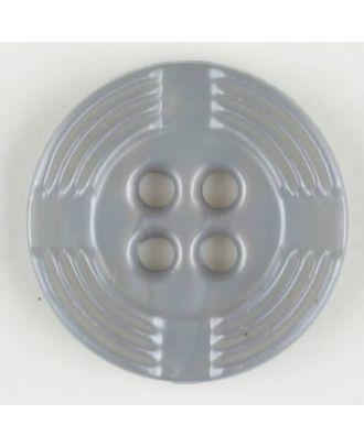 Polyamidknopf, breiter Rand, mit unterbrochenen Rillen durchzogen, rund, 4 loch - Größe: 13mm - Farbe: grau - Art.Nr. 214700
