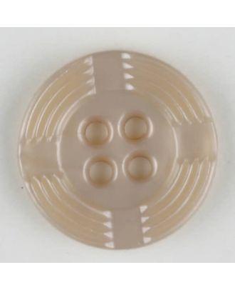 Polyamidknopf, breiter Rand, mit unterbrochenen Rillen durchzogen, rund, 4 loch - Größe: 13mm - Farbe: beige - Art.Nr. 214701