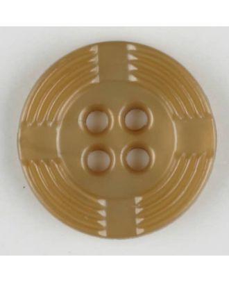 Polyamidknopf, breiter Rand, mit unterbrochenen Rillen durchzogen, rund, 4 loch - Größe: 13mm - Farbe: beige - Art.Nr. 214702