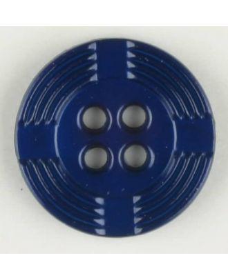 Polyamidknopf, breiter Rand, mit unterbrochenen Rillen durchzogen, rund, 4 loch - Größe: 13mm - Farbe: blau - Art.Nr. 214704