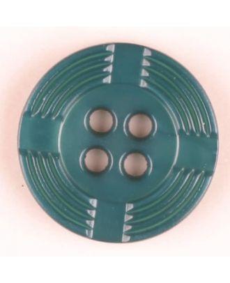 Polyamidknopf, breiter Rand, mit unterbrochenen Rillen durchzogen, rund, 4 loch - Größe: 13mm - Farbe: grün - Art.Nr. 214709