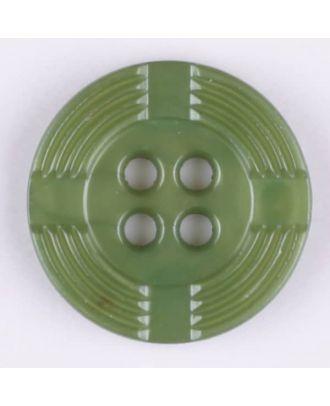 Polyamidknopf, breiter Rand, mit unterbrochenen Rillen durchzogen, rund, 4 loch - Größe: 13mm - Farbe: grün - Art.Nr. 214710