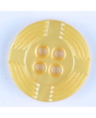 Polyamidknopf, breiter Rand, mit unterbrochenen Rillen durchzogen, rund, 4 loch - Größe: 13mm - Farbe: gelb - Art.Nr. 214714