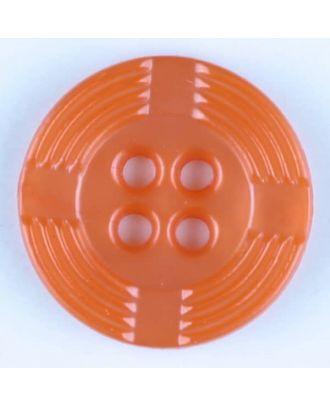 Polyamidknopf, breiter Rand, mit unterbrochenen Rillen durchzogen, rund, 4 loch - Größe: 13mm - Farbe: orange - Art.Nr. 214715
