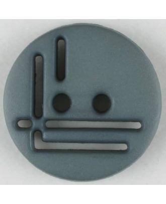 Polyamidknopf, geradlinig durchbrochen, rund, 2 loch - Größe: 14mm - Farbe: grau - Art.Nr. 215700
