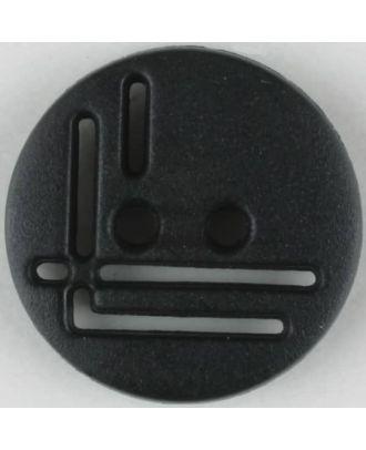 Polyamidknopf, geradlinig durchbrochen, rund, 2 loch - Größe: 14mm - Farbe: schwarz - Art.Nr. 211693