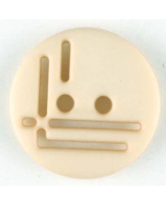 Polyamidknopf, geradlinig durchbrochen, rund, 2 loch - Größe: 14mm - Farbe: beige - Art.Nr. 215703