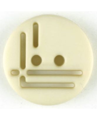 Polyamidknopf, geradlinig durchbrochen, rund, 2 loch - Größe: 14mm - Farbe: beige - Art.Nr. 215704