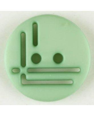 Polyamidknopf, geradlinig durchbrochen, rund, 2 loch - Größe: 14mm - Farbe: grün - Art.Nr. 215713