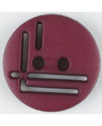 Polyamidknopf, geradlinig durchbrochen, rund, 2 loch - Größe: 14mm - Farbe: weinrot - Art.Nr. 215719