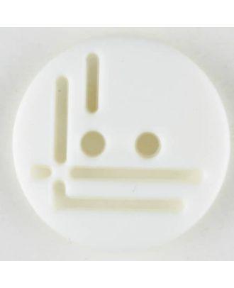 Polyamidknopf, geradlinig durchbrochen, rund, 2 loch - Größe: 14mm - Farbe: weiß - Art.Nr. 211692