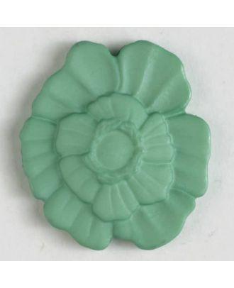 Kunststoffknopf Blume mit Öse - Größe: 18mm - Farbe: grün - Art.Nr. 244604