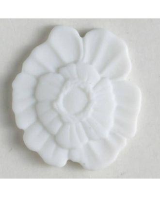 Kunststoffknopf Blume mit Öse - Größe: 18mm - Farbe: weiss - Art.Nr. 241198