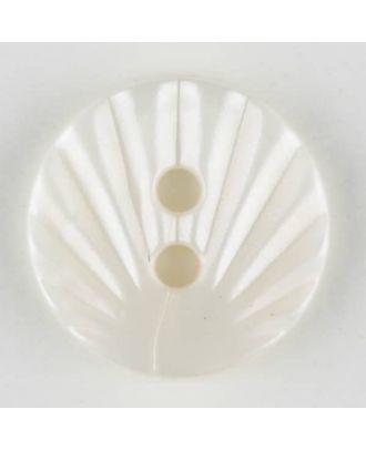 Polyamidknopf mit strahlenförmigem Dekor,  2-loch - Größe: 13mm - Farbe: weiss - Art.Nr. 211676