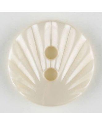 Polyamidknopf mit strahlenförmigem Dekor,  2-loch - Größe: 13mm - Farbe: beige - Art.Nr. 213701