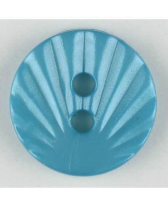 Polyamidknopf mit strahlenförmigem Dekor,  2-loch - Größe: 13mm - Farbe: blau - Art.Nr. 213710