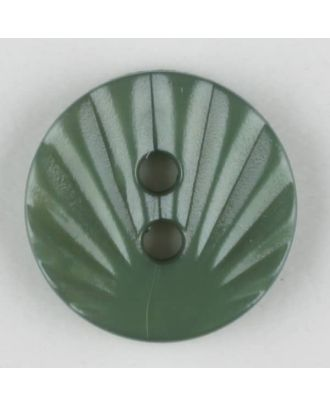 Polyamidknopf mit strahlenförmigem Dekor,  2-loch -  Größe: 13mm - Farbe: grün - Art.Nr. 213720