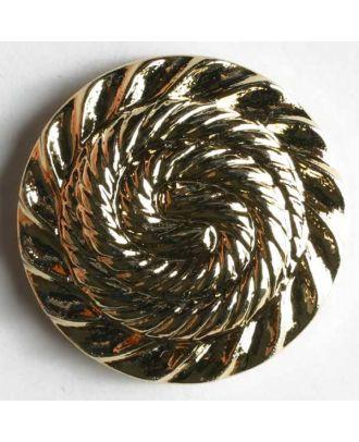 Kunststoffknopf metallisiert, mit Schneckenlinienmuster bzw. Spiralmotiv - Größe: 25mm - Farbe: gold - Art.Nr. 300165