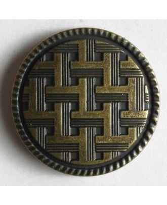 Kunststoffknopf metallisiert, mit Gitternetzlinien und Öse - Größe: 20mm - Farbe: altmessing - Art.Nr. 250776