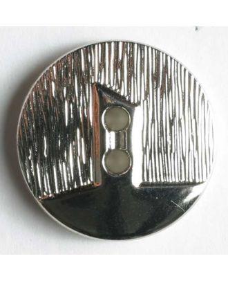 Kunststoffknopf metallisiert, zwei Drittel vertieft und polierter Bereich mit 2 Löchern - Größe: 14mm - Farbe: silber - Art.Nr. 211116