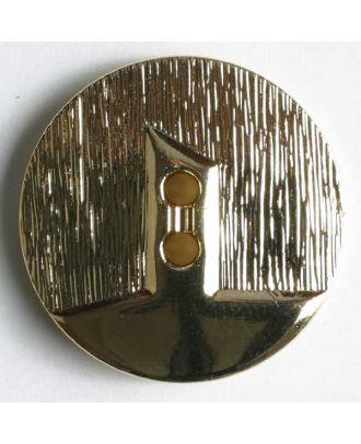 Kunststoffknopf metallisiert, zwei Drittel vertieft und polierter Bereich mit 2 Löchern - Größe: 14mm - Farbe: gold - Art.Nr. 231147