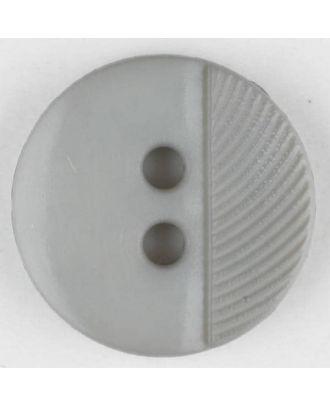Polyamidknopf ein Drittel schraffiert mit 2 Löchern - Größe: 13mm - Farbe: grau - Art.Nr. 212700