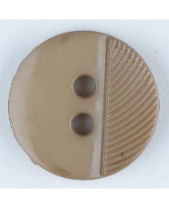 Polyamidknopf ein Drittel schraffiert mit 2 Löchern - Größe: 13mm - Farbe: beige - Art.Nr. 212701