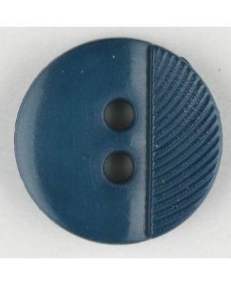 Polyamidknopf ein Drittel schraffiert mit 2 Löchern - Größe: 13mm - Farbe: blau - Art.Nr. 212703