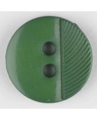 Polyamidknopf ein Drittel schraffiert mit 2 Löchern - Größe: 13mm - Farbe: grün - Art.Nr. 212705
