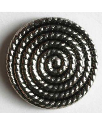 Kunststoffknopf metallisiert, mit Sprialmotiv bzw. Schneckenlinienmuster - Größe: 19mm - Farbe: altsilber - Art.Nr. 240634