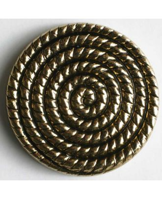 Kunststoffknopf metallisiert, mit Sprialmotiv bzw. Schneckenlinienmuster - Größe: 19mm - Farbe: altgold - Art.Nr. 260466