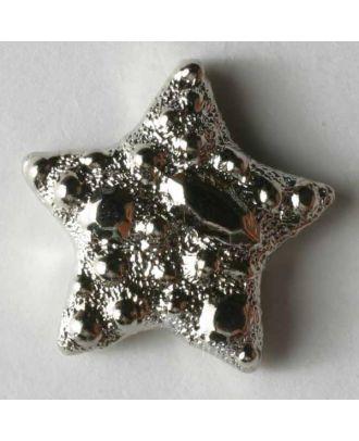Silberner Stern Kunststoffknopf metallisiert - Größe: 17mm - Farbe: silber - Art.Nr. 290156